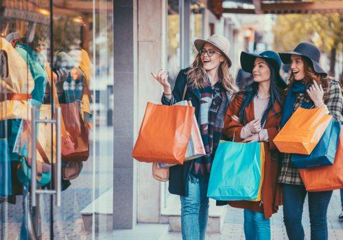Young women enjoying a window shopping